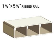 "VEKA 1 1/2"" X 5 1/2"" VINYL RANCH RAIL PROFILE (0.090"" WALL) 192"""