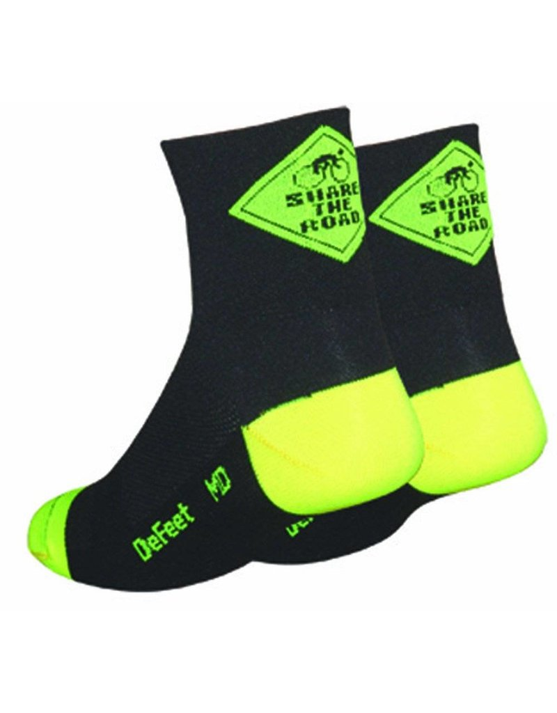 "DeFeet DeFeet Aireator Share The Road Bicycle Sock Blk LG 2.5"" Cuff"