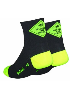 "DeFeet DeFeet Aireator Share The Road Bicycle Socks Blk XL 2.5"" Cuff"