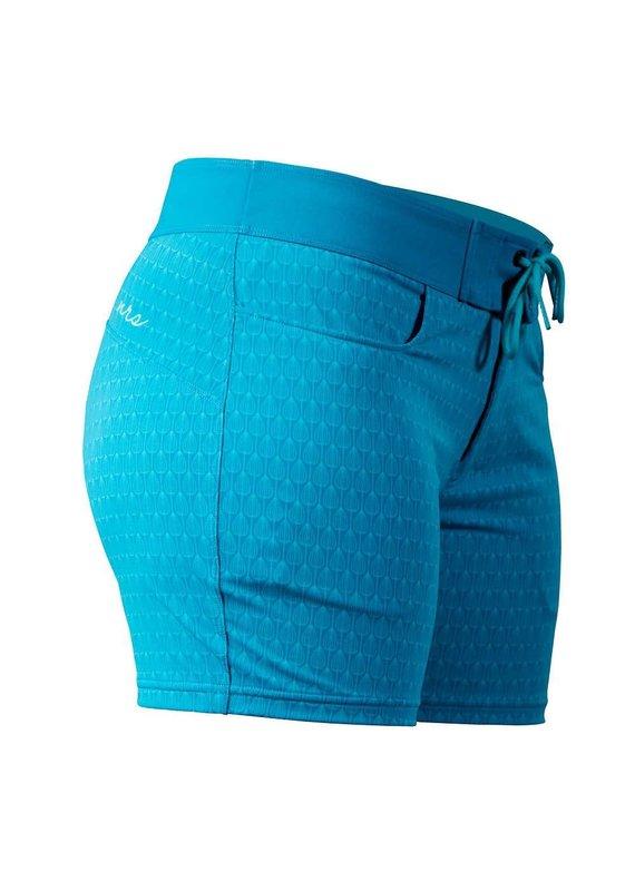 NRS Women's Beda Board Shorts Azure Blue Peacock Size 6