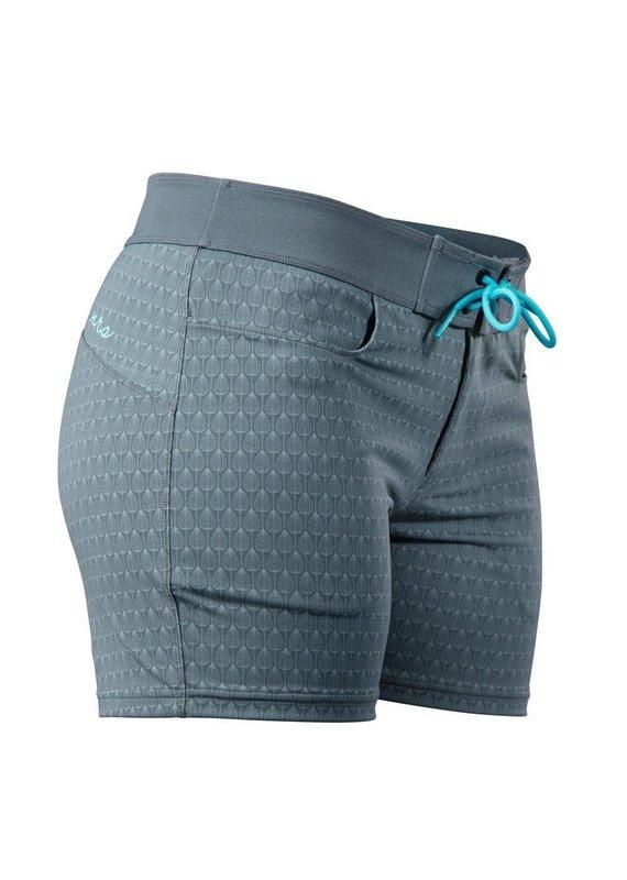 NRS Women's Beda Board Shorts Ash Grey Peacock Size 14