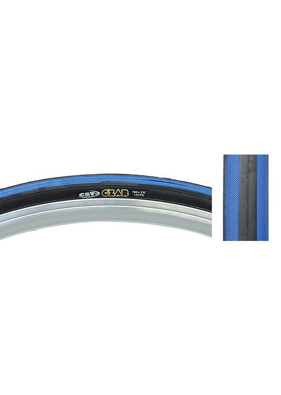CST PREMIUM CST CZAR Road Bike Tire 700x25 Black/Blue 120lb WIRE Bead