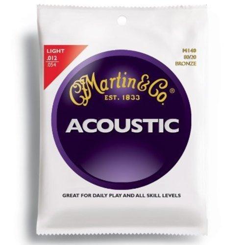 Martin M140 Acoustic Guitar Strings - Bronze/Light, 80/20