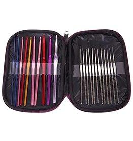 22 crochet hooks in pouch