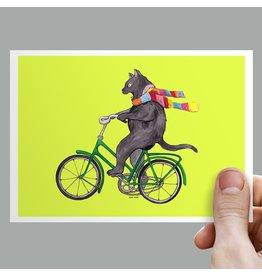 Anouk Greeting Cards cat on bike