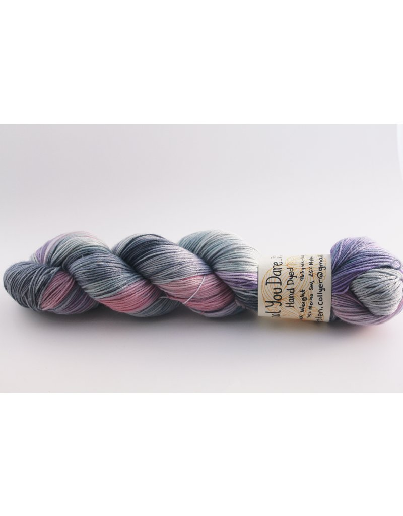 Wool You Dare Wool You Dare Sock 12 - Grey blues and pink with purple