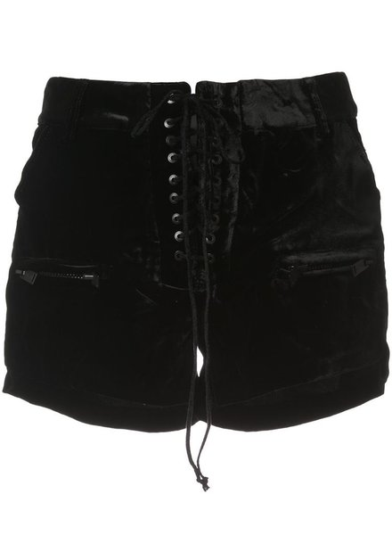 UNRAVEL PROJECT UNRAVEL WOMEN VELVET LACE UP SHORTS
