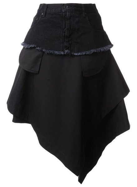 UNRAVEL PROJECT UNRAVEL WOMEN TELA ASYMM SKIRT DENIM BELT