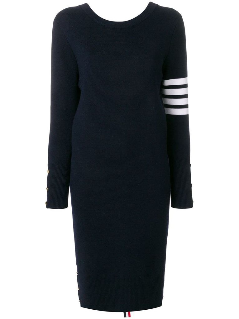THOM BROWNE THOM BROWNE WOMEN BACK TO FRONT MILANO V NECK CARDIGAN DRESS WTH 4 BAR STRIPE IN FINE MERINO WOOL