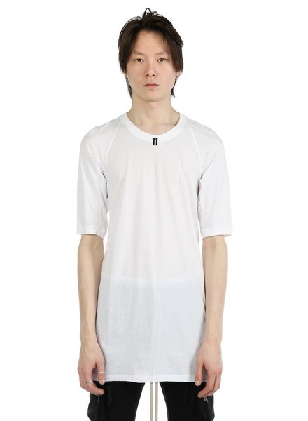 11 BY BORIS BIDJAN SABERI 11 BY BORIS BIDJAN SABERI MEN LOGO AND TYPE T-SHIRT WITH CONTRASTED LABEL