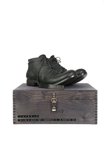 LAYER-0 LAYER-0 MEN SPECIAL REVERSED CORDOVAN ANKLE BOOTS WITH WOODEN BOX