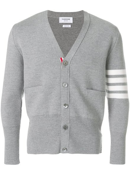 THOM BROWNE THOM BROWNE MEN MILANO STITCH V NECK CARDIGAN W/ 4 BAR STRIPE IN FINE MERINO WOOL