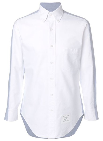 THOM BROWNE THOM BROWNE MEN BICOLOR CLASSIC LONG SLEEVE SHIRT IN OXFORD