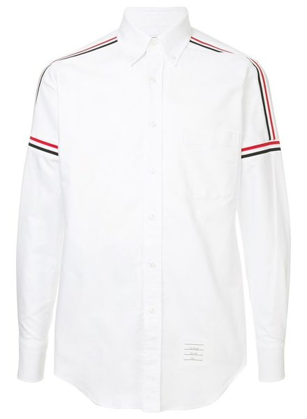 THOM BROWNE THOM BROWNE MEN ELASTIC STRIPE SEAMED CLASSIC POINT COLLAR BUTTON DOWN LONG SLEEVE SHIRT IN OXFORD