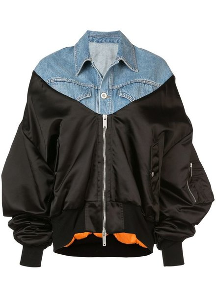UNRAVEL PROJECT UNRAVEL WOMEN NYLON HYBRID BOMBER DENIM JACKET