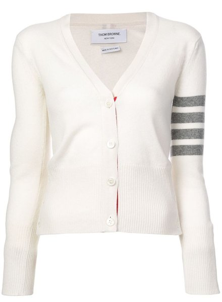 THOM BROWNE THOM BROWNE WOMEN CLASSIC V NECK CARDIGAN IN CASHMERE W/ WHITE 4 BAR SLEEVE STRIPE