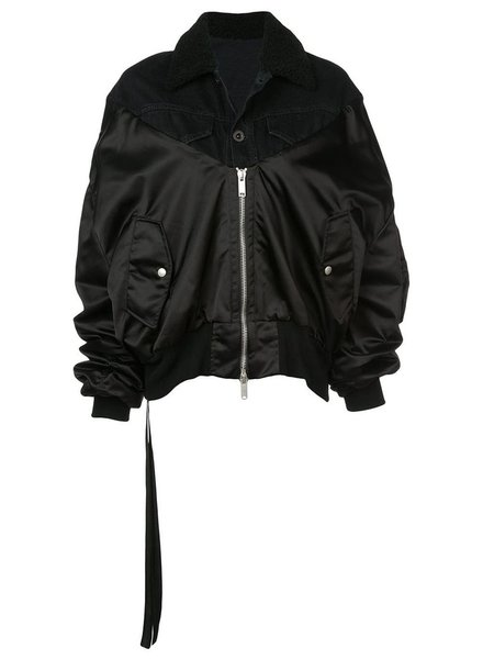UNRAVEL PROJECT UNRAVEL WOMEN SHEARLING HYBRID BOMBER
