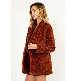 Olivaceous Shag Faux Fur Jacket- Rust
