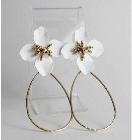 Ana Trading Co. Porcelain and Gold Floral Earrings