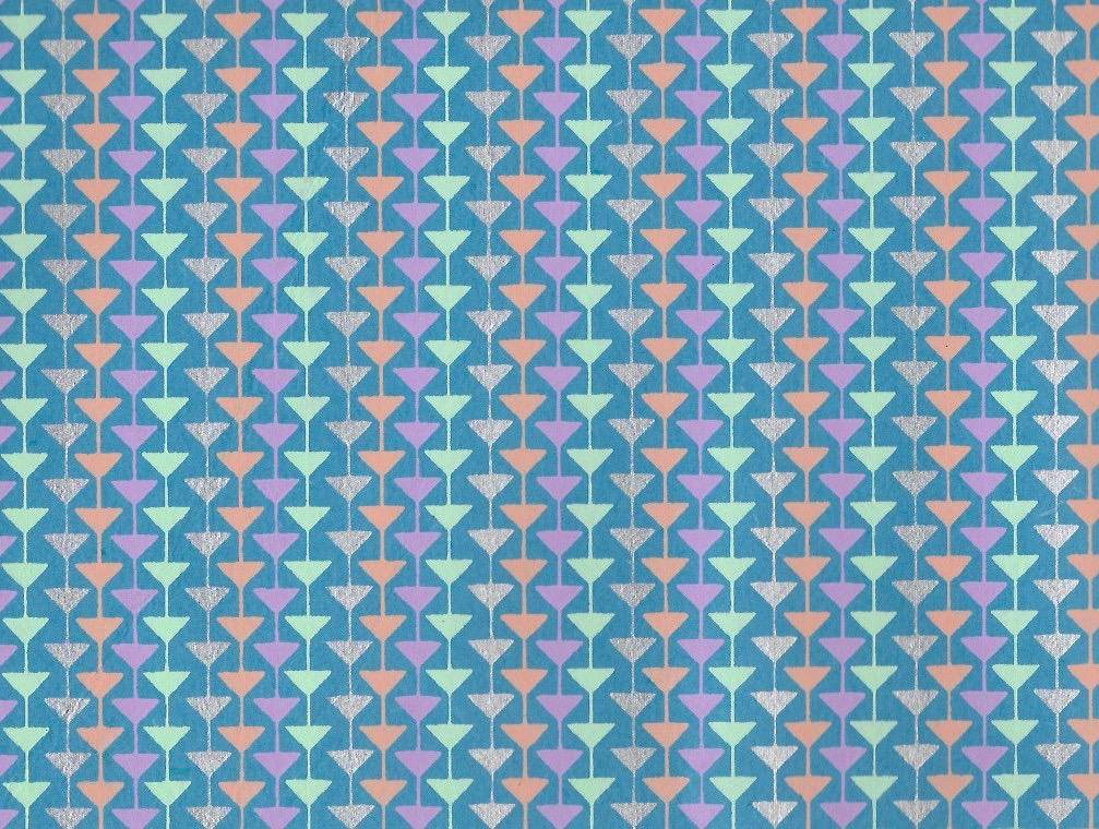 "India Triangle Mobile, Orange, Seafoam, Silver, Blue, Purple on Blue, 22"" x 30"""
