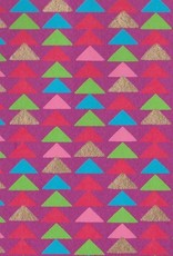 "India Triangle Stacks, Red, Pink, Green, Blue, Gold on Magenta, 22"" x 30"""
