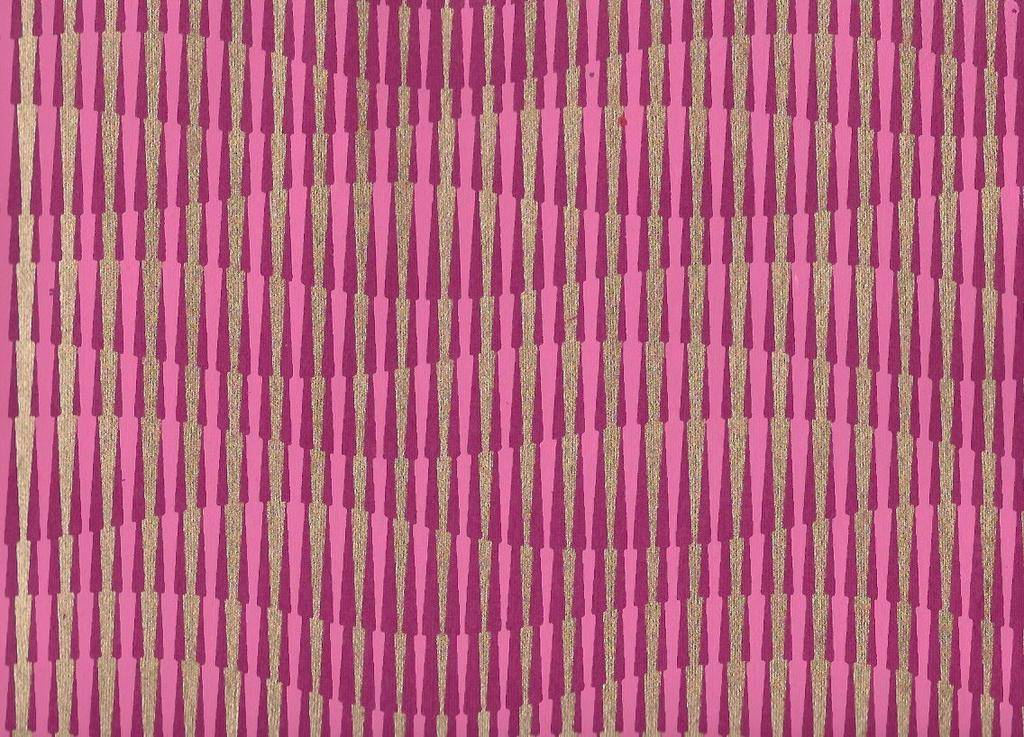 "India Optical Illusion, Hillside, Magenta, Pink with Gold on Purple, 22"" x 30"""