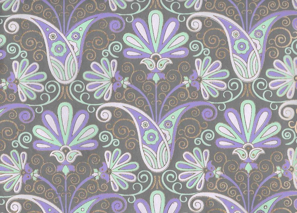 "India Peacock Flowers, Seagreen, Light Purple, Lavender, Gold Lines on Grey, 22"" x 30"""