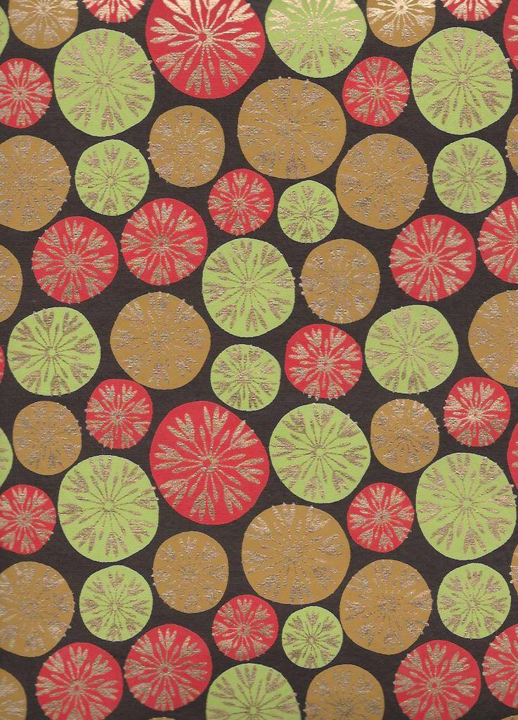 """India Dandilion Bubbles, Red, Lime Green, Tan with Gold Lines on Brown, 22"""" x 30"""""""
