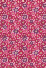 """India Poppy Field, Red, Pink, Magenta with Gold Dots on Pink, 22"""" x 30"""""""