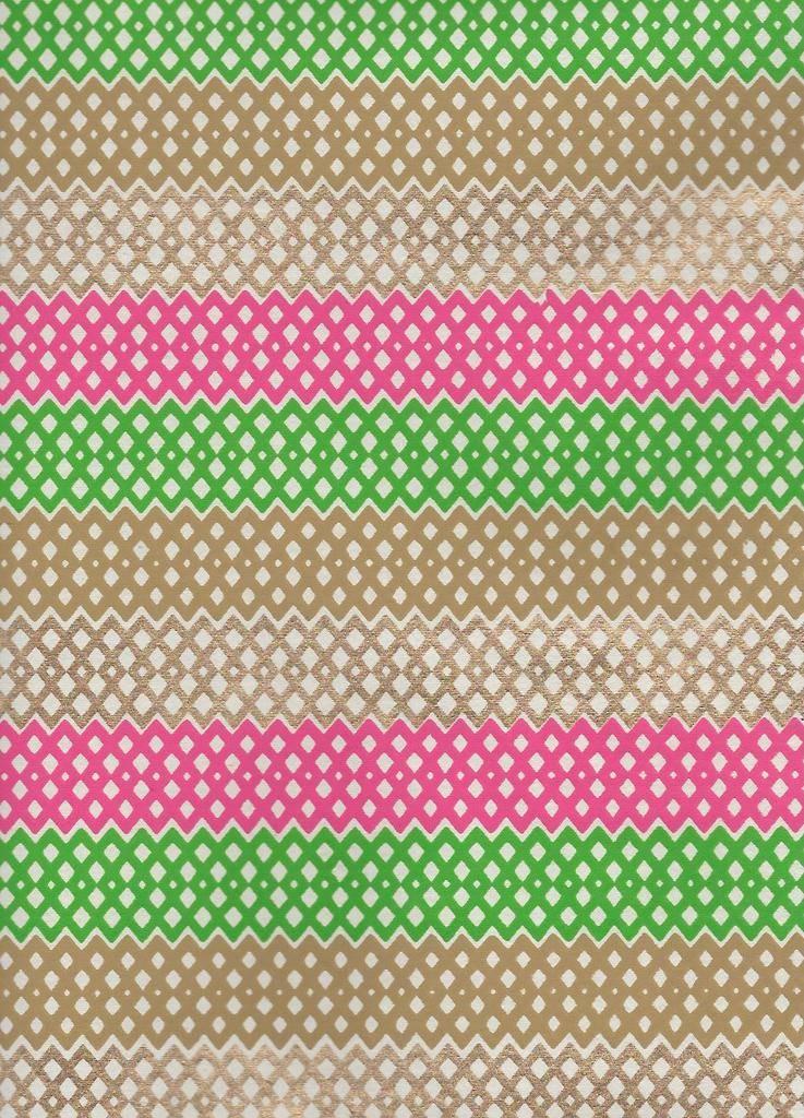 "India Diamond Lattice Stripes, Pink, Green, Gold on Cream, 22"" x 30"""