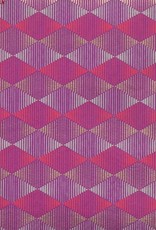 "India Optical Illusion, Diamond, Red, Grey, Gold on Purple, 22"" x 30"""