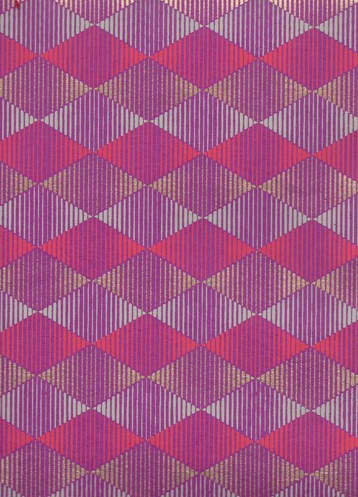 "India Optical Illusion, Diamond, Red, Grey, Gold on Purple, 22"" x 30"""