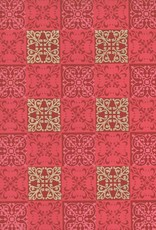 """India Quilt Squares, Red, Pink, Gold on Red, 22"""" x 30"""""""