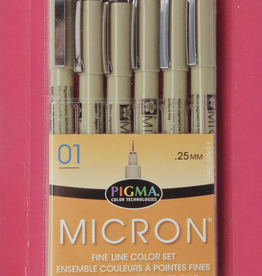 Micron Pen, Colors: 6 Pack w/ 1 each Black, Red, Blue, Green, Brown, Purple (All in Size 01)