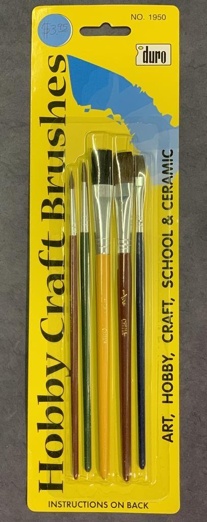 Hobby Craft Brushes, 5 Assorted brushes: Black Bristle Flat 1/2, Camel Hair Flat 1/4 & 1/2, Camel Hair Round 2 & 4