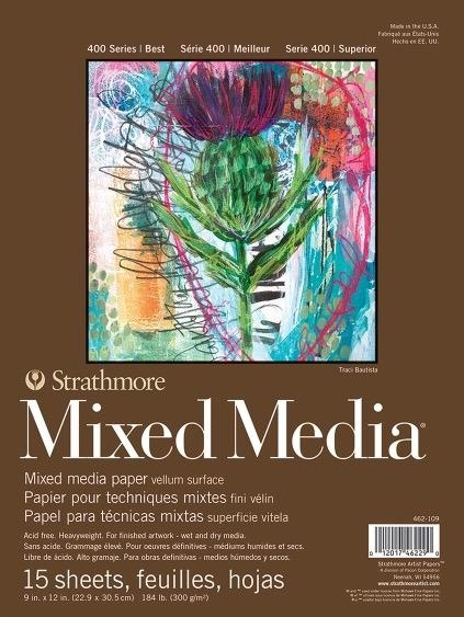 """Domestic Strathmore Mix Media Pad, 400, 9"""" x 12"""", 15 Sheets, 184#, 300gsm"""
