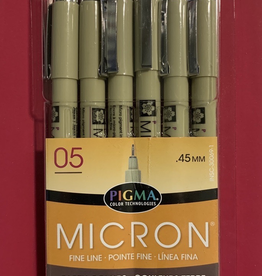 Micron Pen, Earth Colors: 6 Pack w/ 1 each of colors: Black, Blue, Burgundy, Navy Blue, Evergreen, Lime Green (All in Size 05) .45mm
