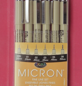 Micron Pen, Black: 6 Pack w/ 1 each in sizes: 005, 01, 02, 03, 05, 08