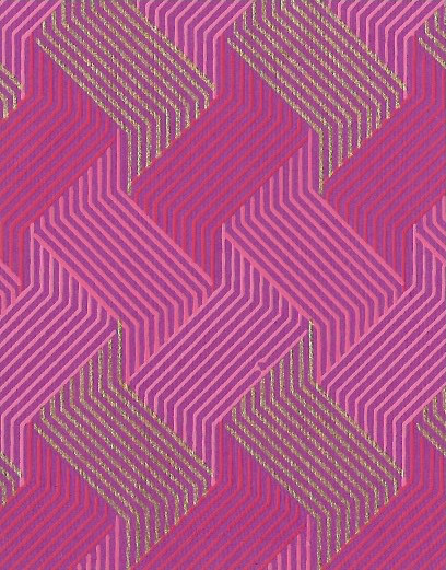 "India Circuit Grid Boxes, Pink, Red, Gold on Purple, 22"" x 30"""