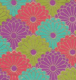 """India Chrysanthemum Flower Layers, Orange, Blue, Olive Green with Gold Lines on Purple, 22"""" x 30"""""""
