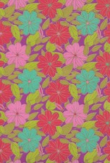 "India Indian Flower Daisy, Pink, Red, Teal and Green Leaves on Purple, 22"" x 30"""