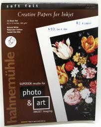 "Germany Hahnemuhle Natural White, Soft Felt,  Creative Papers for Inkjet, 160 gm, 8.5"" x 11"", 15 Sheet Pad"