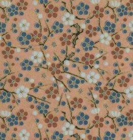 "Japan Yuzen 1446, Beige with Circle Flowers, 19"" x 25"""