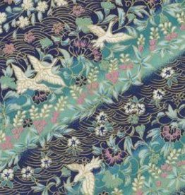"Japan Yuzen 4204, 19"" x 25"", Teal with Cranes"