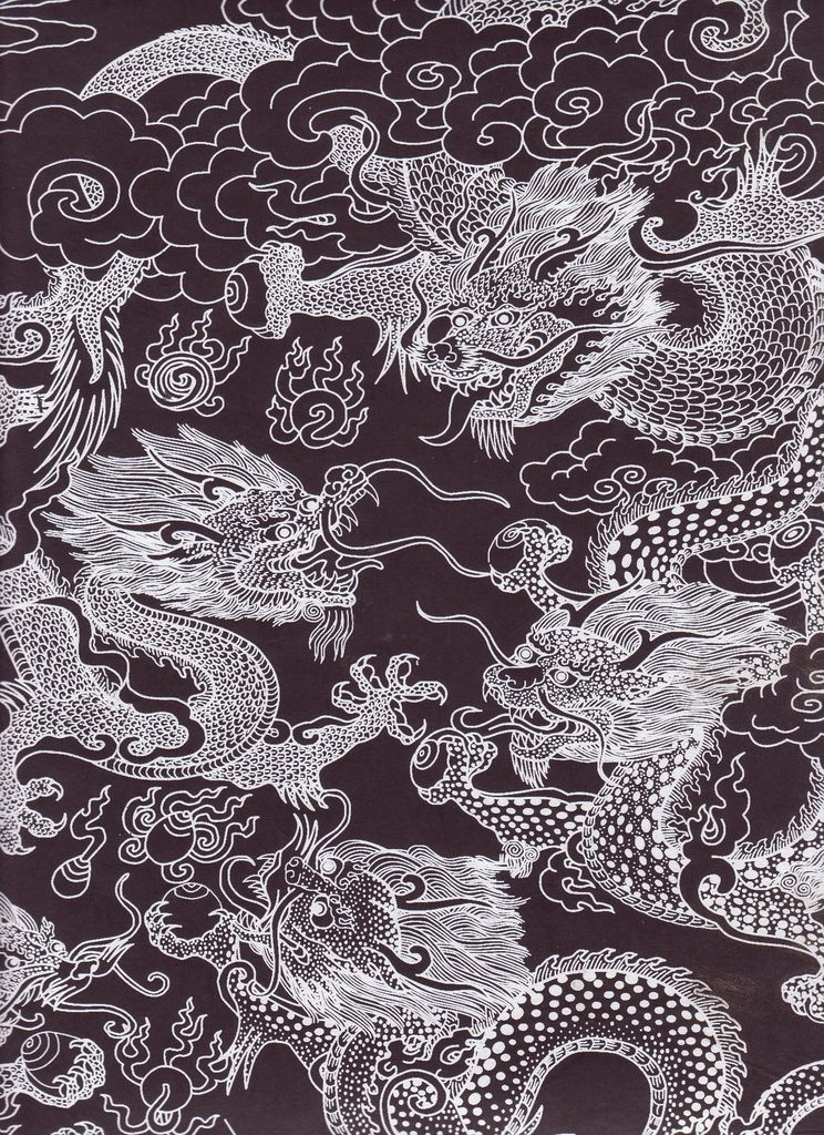 "Nepal Dragon Beasts, White on Black, 20"" x 30"""