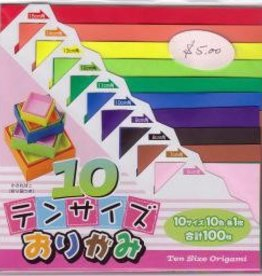 Japan Origami, 10 Different Colors at 10 Different Sizes = 100  Sheets of Origami