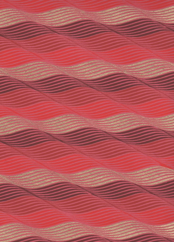 """India Indian Waves, Gold and Burgundy on Red, 22"""" x 30"""""""