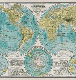 "Italy Cavallini Print, Hemisphere Map, 20"" x 28"""