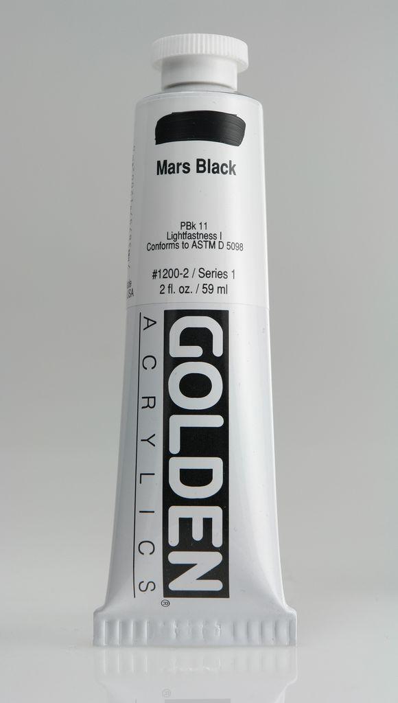 Golden, Heavy Body Acrylic Paint, Mars Black, Series 1, Tube, 2fl.oz.