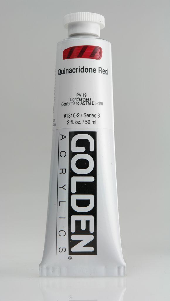 Golden, Heavy Body Acrylic Paint, Quinacridone Red, Series 6, Tube, 2fl.oz.